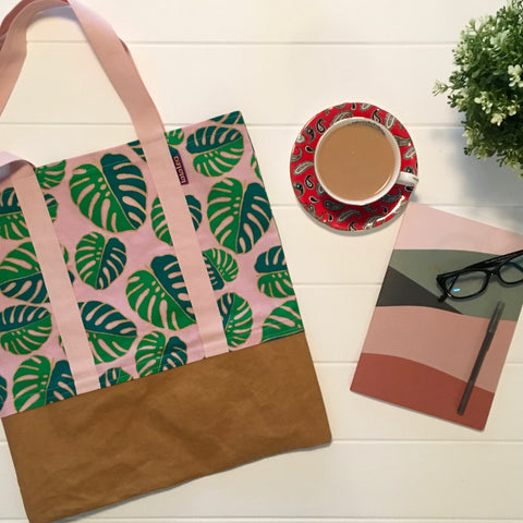 Pink Monstera Tote - LaLaLea - Love Australian Handmade Emerging Makers Blog