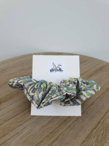 Purple, Gold and Green Paisley Print Scrunchies
