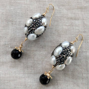 F.W.Pearl, Rhinestone Pearl and Onyx gold filled Earrings
