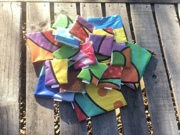 Mini purses sustainably made from upcycled Pooltoys