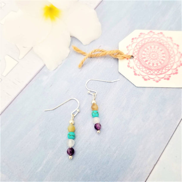 Rainbow Silver Earrings