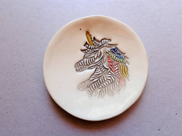 Unicorn small ceramic dish, mythical whimsy fantasy rainbow horse pottery