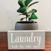 "4"" x 8"" Grey and White Laundry Sign"