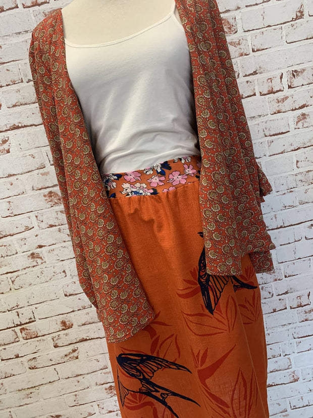 gorgeous orange screenprinted skirt -large 12-14- floaty and perfect for summer-linen blend-