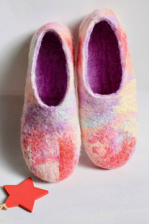 MADE JUST FOR YOU - 100% wool felted ladies house shoes - 'Painted Look' brights