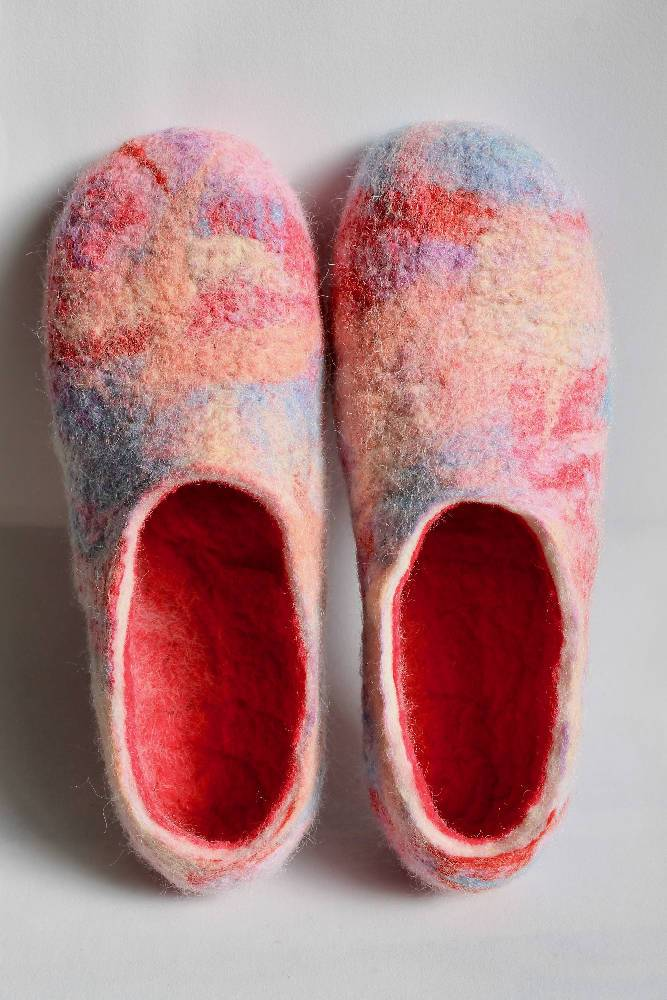 MADE JUST FOR YOU - 100% wool felted ladies house shoes (slippers) - 'Painted Look' brights
