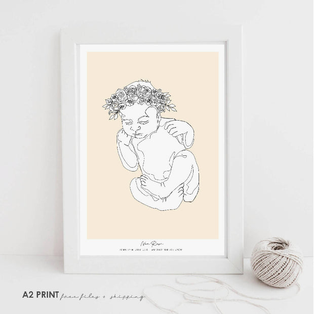 PERSONALIZED BIRTH POSTER to scale- A newborn baby in a single line