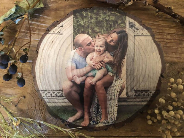Family Portrait on Wood Slice - Personalised Gift, Handmade Wood Block, Rustic Photo Gift, Photo Block, 50th Birthday Present, Gift for Him, 5th Anniversary Present