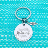 Teacher Gifts - Personalised Engraved Thanks For Helping Me Grow Keyring