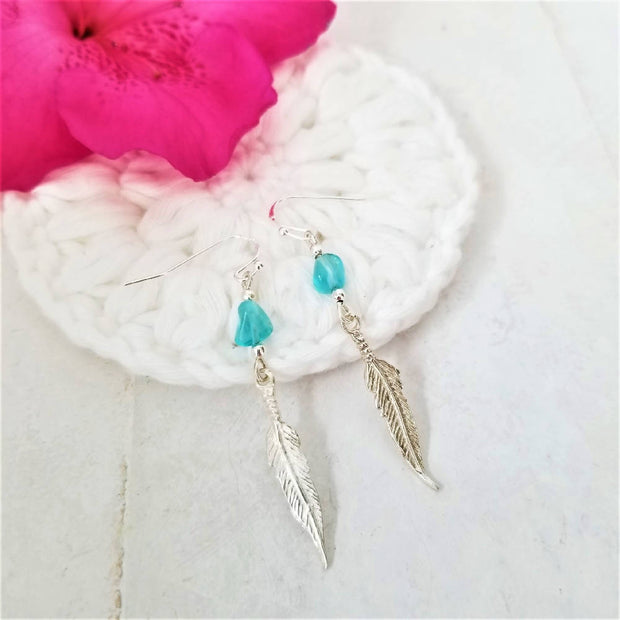 Kyanite Tribal Feather Earrings