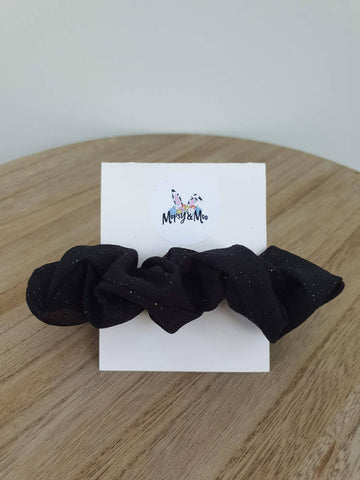 Black Sparkle Organza Scrunchies
