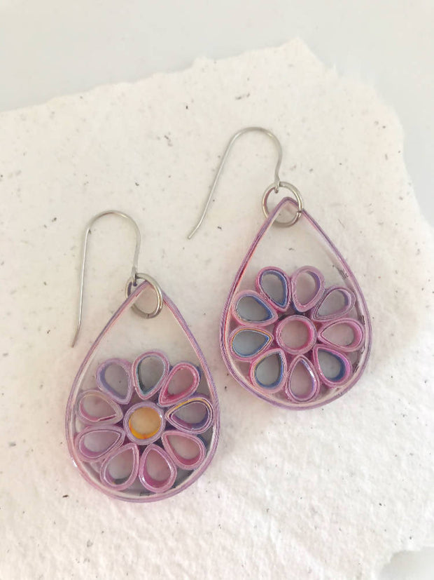 Recycled teardrop flower quilled earrings - you won't believe it's paper!