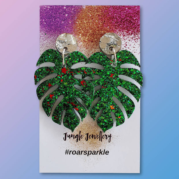 Monstera Drop Earrings - Green and Red