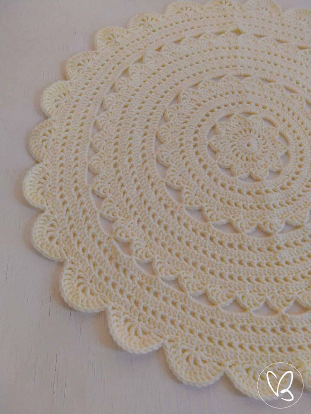 Cream Ready Made Crochet Floor Rug