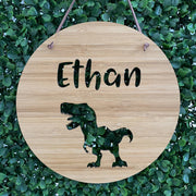 T-rex round bamboo name plaque