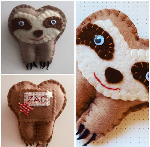 Sloth personalised tooth fairy pillow
