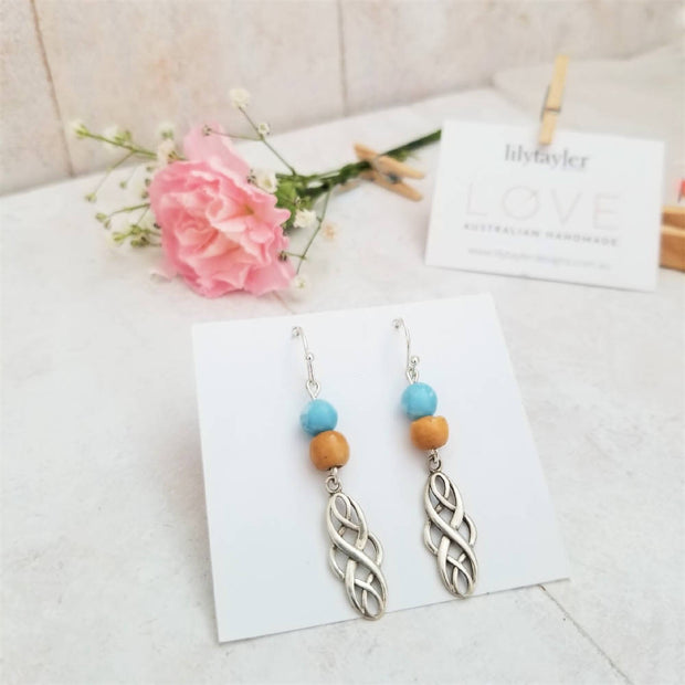 Infinity Blue Sterling Silver Earrings
