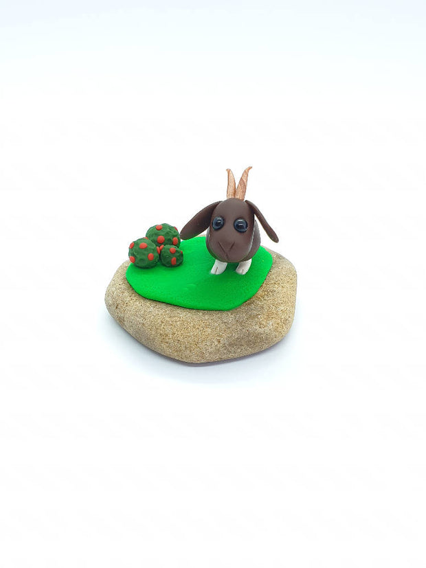 Miniature goat clay sculpture collectable