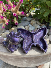 Butterfly Trinket Dish and Unicorn Ring Holder Gift Set - Purple Sparkle