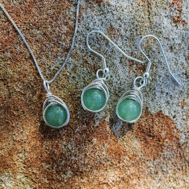 Custom Made Matching Pendant and Earrings in Sterling Silver