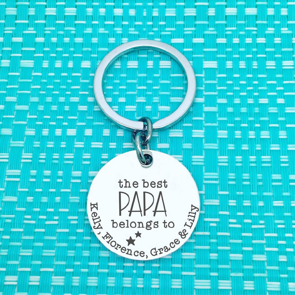 Dad Gifts -This best Grandad belongs to, personalised keyring (Change Grandad to another name of your choosing)