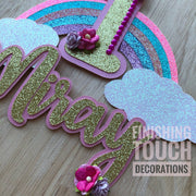 Rainbow Cake Topper with name and age