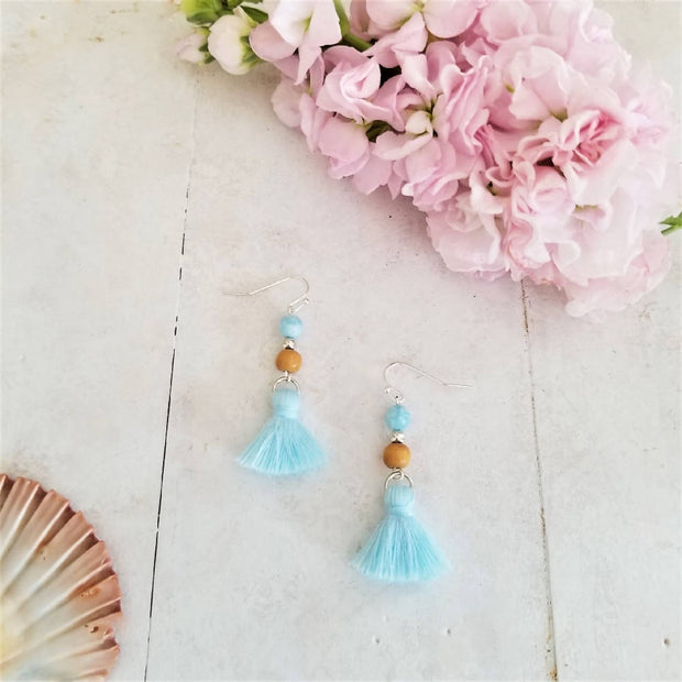 Blue Stone Tassel Earrings
