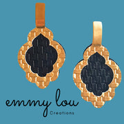Gold & Black Cut Out Faux Leather Earrings