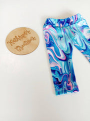 Girls' Marble Blue Sports Leggings - Size 2