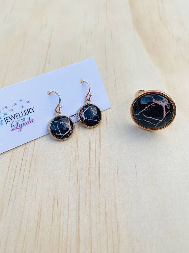 Black and Rose Gold Set