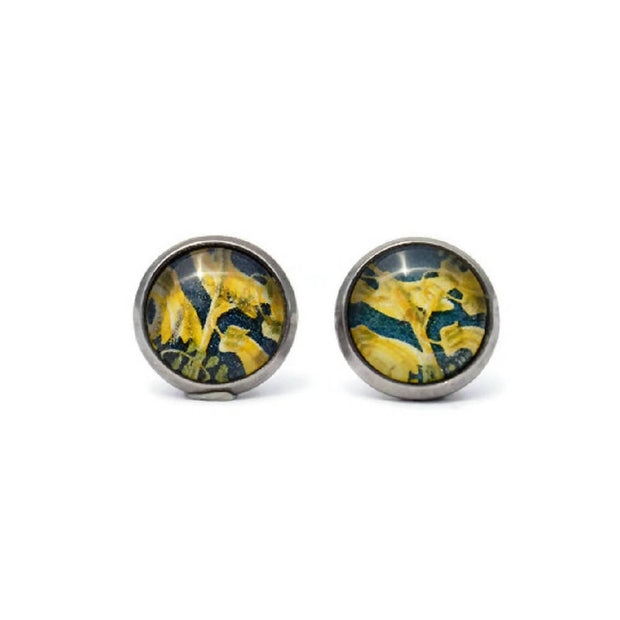 Vintage Flower Postage Stamp Stud Earrings, Gift for Her, Floral, Stainless Steel Studs, Yellow, Blue, Favors, Botany, Upcycle, Recycle
