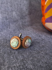 Pink and Green Cufflink in Wood