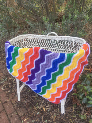 Custom Order for Zoe - Rainbow Ripple Pram Blanket