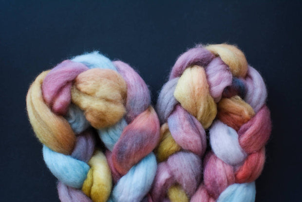 "Australian merino wool roving in ""Rainbow"""