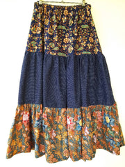 Gypsy Skirt - tiered maxi skirt - ankle length - size 6-8-10-12