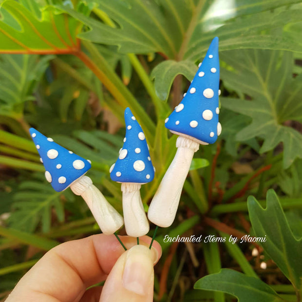 Set of 3 Blue topsy turvy Mushrooms with White spots
