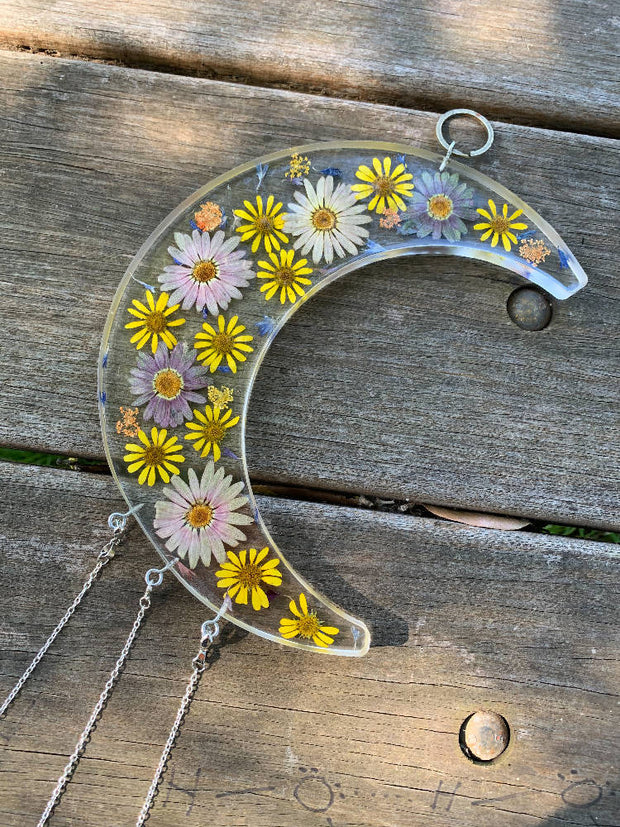 Blooming Crescent Moon - Happy Daisies