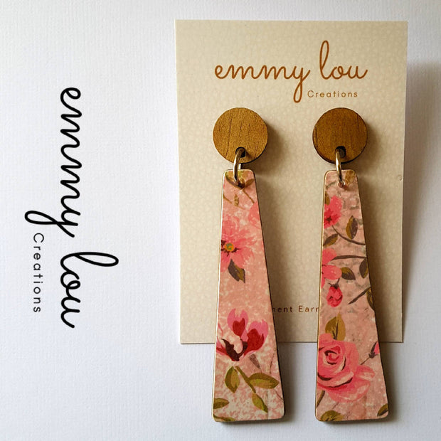 Long Wooden Decoupage Earrings - Pink Floral Print