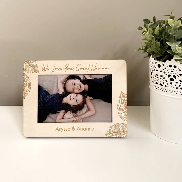 Personalised wooden photo frame - Detailed monstera design