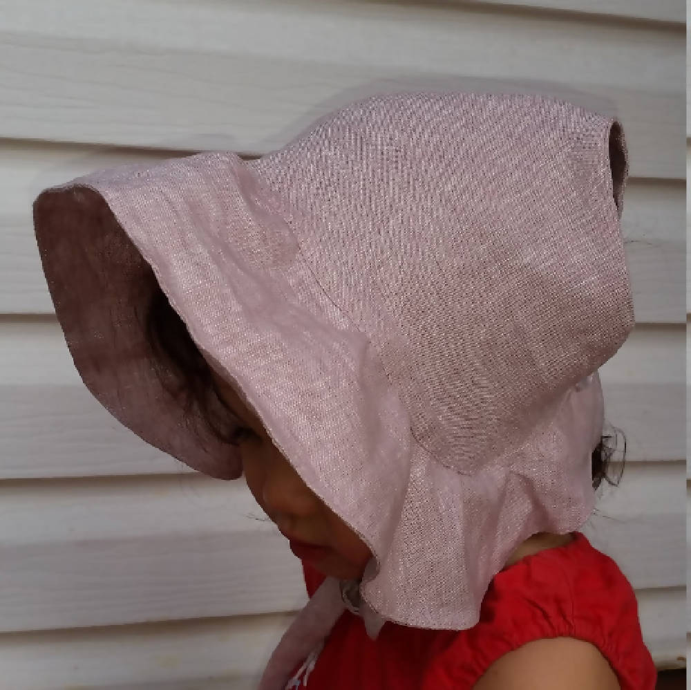 Adjustable Linen Bonnet with Ruffled Brim - Dusty Pink