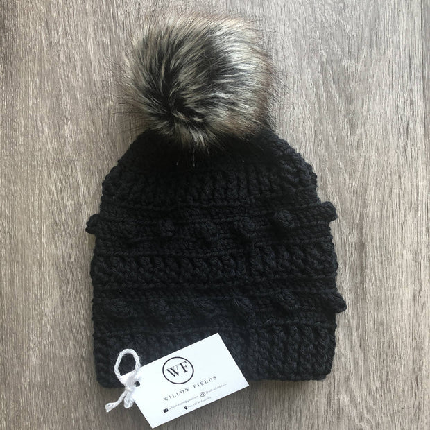 Adult Aussie Wool Bobble Beanie - Black
