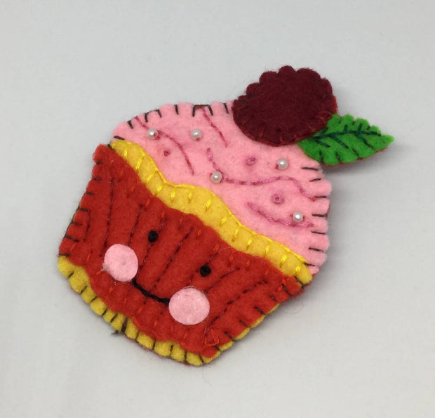 Cute cupcake felt Statement brooch