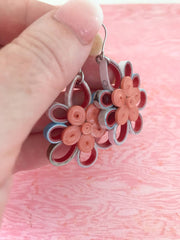 Peachy theme quilled earrings - you won't believe it's paper!