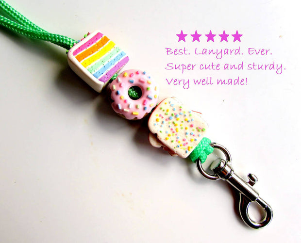Fairy Bread, doughnut and rainbow cake lanyard