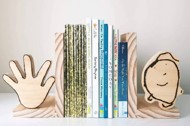 Pyrographed Personalised Bookends
