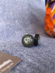 Liberty green Cufflink in Dark wood