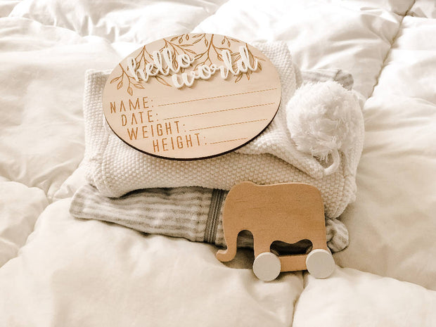 "Wooden + Acrylic ""Hello World"" Birth Announcement"