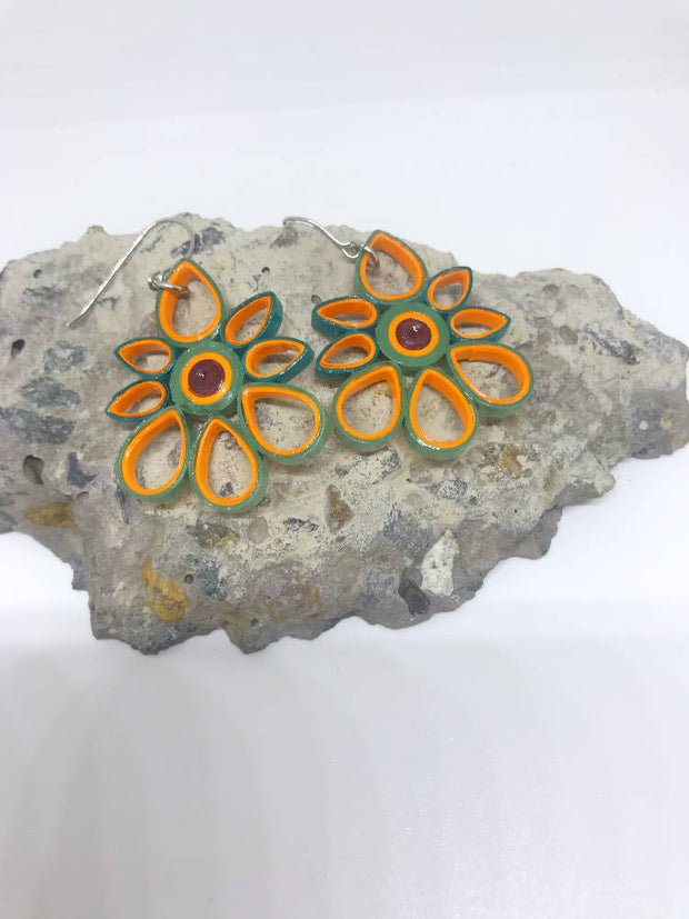 Orange and Green flower quilled earrings made from paper