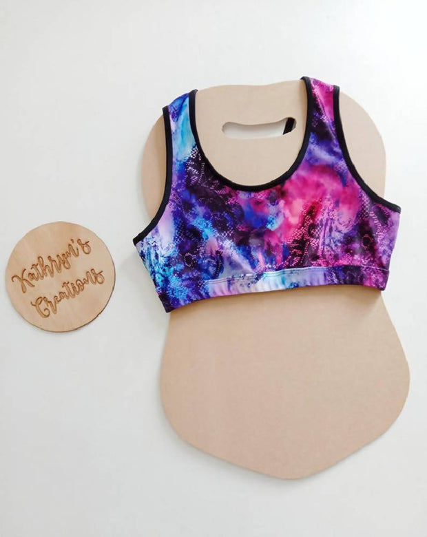 Watercolour Lace Purple Infinity Crop Top