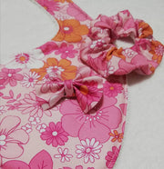 Retro Aria- Mom and Bub matching set- bib, bow and scrunchie